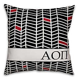 Designs Direct Sorority Alpha Omicron Pi Chevron Square Throw Pillow in Black
