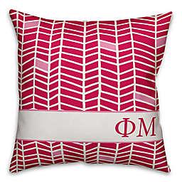 Designs Direct Sorority Phi Mu Chevron Square Throw Pillow in Pink