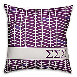 Designs Direct Sorority Sigma Sigma Sigma Chevron Square Throw Pillow in Purple