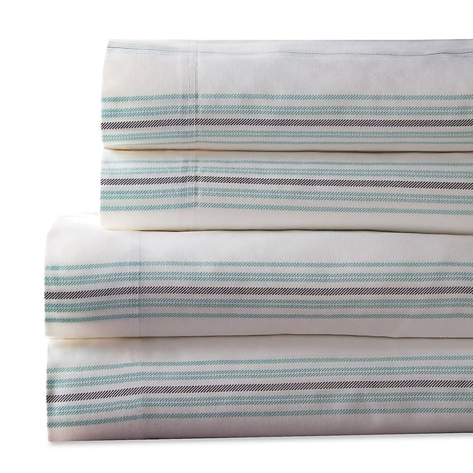 Alternate image 1 for Regent Stripe 300-Thread-Count King Sheet Set in Aqua