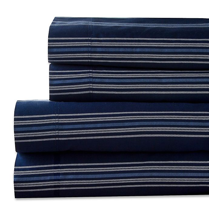 Alternate image 1 for Regent Stripe 300-Thread-Count California King Sheet Set in Navy