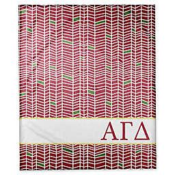 Designs Direct Alpha Gamma Delta Chevron Throw Blanket in Red