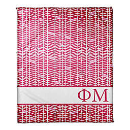 Designs Direct Phi Mu Chevron Throw Blanket in Pink