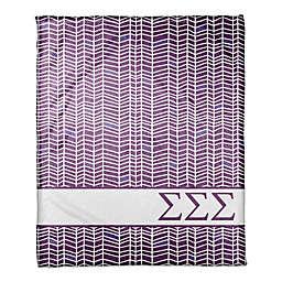 Designs Direct Sigma Sigma Sigma Chevron Throw Blanket in Purple