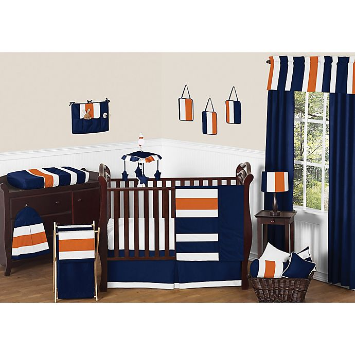 Alternate image 1 for Sweet Jojo Designs Navy and Orange Stripe Crib Bedding Collection
