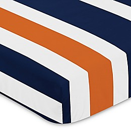 Sweet Jojo Designs Navy and Orange Stripe Fitted Crib Sheet