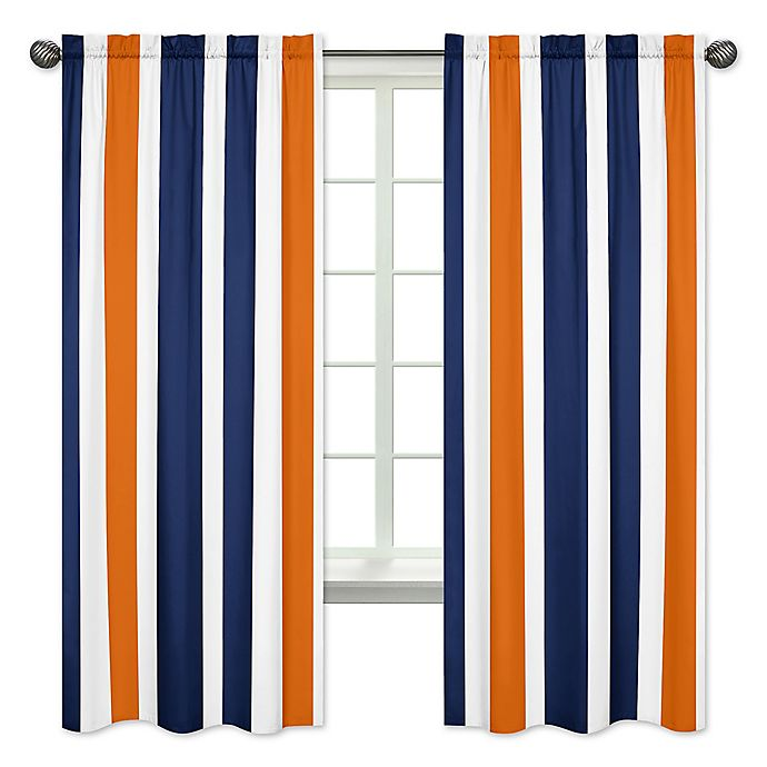Alternate image 1 for Sweet Jojo Designs Navy and Orange Stripe 84-Inch Window Panels (Set of 2)