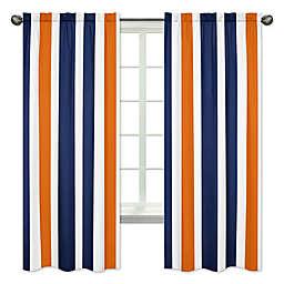 Sweet Jojo Designs Navy and Orange Stripe 84-Inch Window Panels (Set of 2)