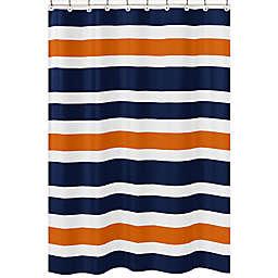 Sweet Jojo Designs Navy and Orange Stripe Shower Curtain