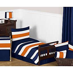 Sweet Jojo Designs Navy and Orange Stripe Toddler Bedding Collection