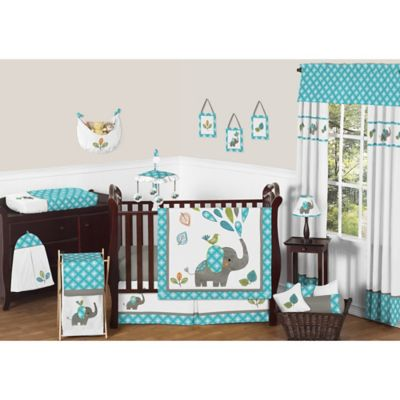 Sweet Jojo Designs Mod Elephant 11 Piece Crib Bedding Set In Turquoise White Bed Bath Beyond