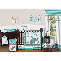 Sweet Jojo Designs Mod Elephant Collection in Turquoise/White