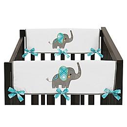 Sweet Jojo Designs Mod Elephant Reversible Side Crib Rail Cover in Turquoise/White (Set of 2)