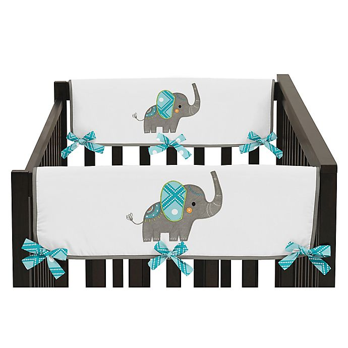 Alternate image 1 for Sweet Jojo Designs Mod Elephant Reversible Side Crib Rail Cover in Turquoise/White (Set of 2)