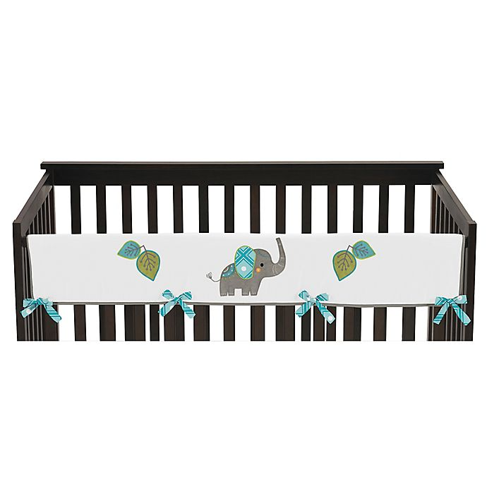 Alternate image 1 for Sweet Jojo Designs Mod Elephant Reversible Long Crib Rail Cover in Turquoise/White