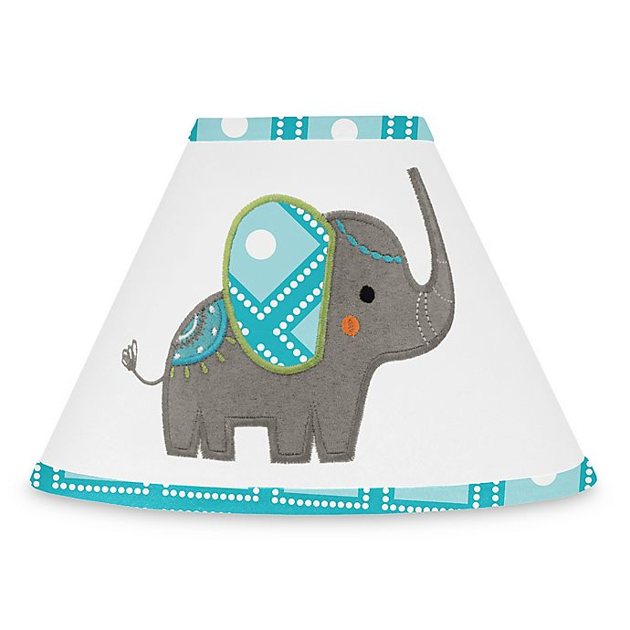 Alternate image 1 for Sweet Jojo Designs Mod Elephant Lamp Shade in Turquoise/White