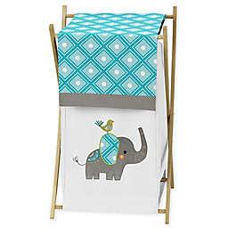 Sweet Jojo Designs Mod Elephant Hamper in Turquoise/White