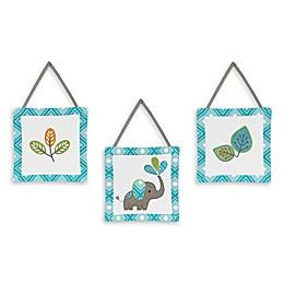 Sweet Jojo Designs Mod Elephant 3-Piece Wall Hanging Set in Turquoise/White