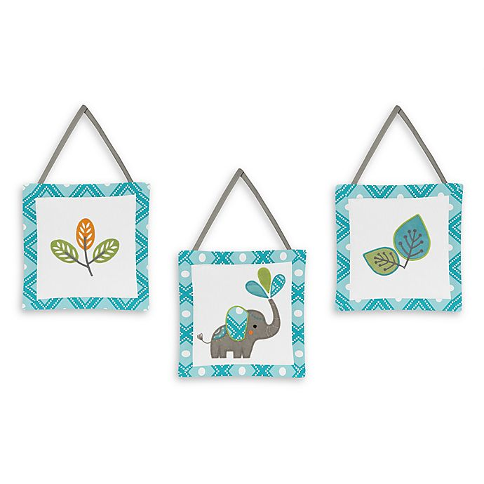 Alternate image 1 for Sweet Jojo Designs Mod Elephant 3-Piece Wall Hanging Set in Turquoise/White