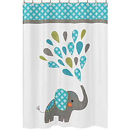 Sweet Jojo Designs Mod Elephant Shower Curtain In Turquoise White