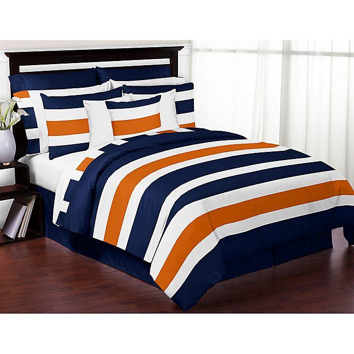 Alternate image 1 for Sweet Jojo Designs Navy and Orange Stripe 4-Piece Twin Comforter Set