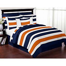 Sweet Jojo Designs Navy and Orange Stripe 3-Piece Full/Queen Comforter Set