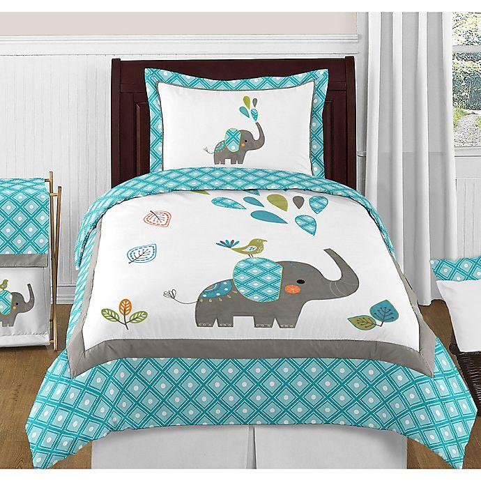 Alternate image 1 for Sweet Jojo Designs Mod Elephant 3-Piece Full/Queen Bedding Set in Turquoise/White