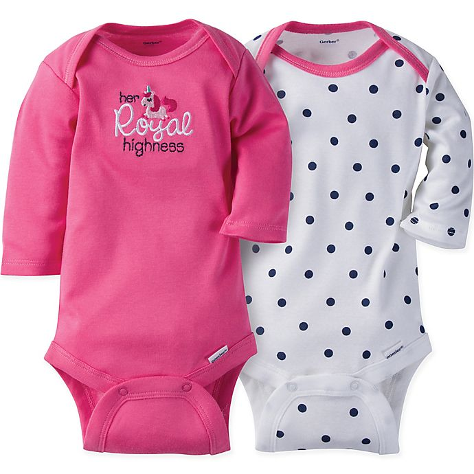 4e7ee9a42 Gerber ONESIES® Brand 2-Pack Princess Long Sleeve Bodysuits