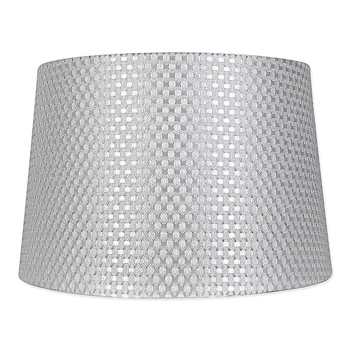 Alternate image 1 for Mix & Match Large Textured Drum Lamp Shade in Grey