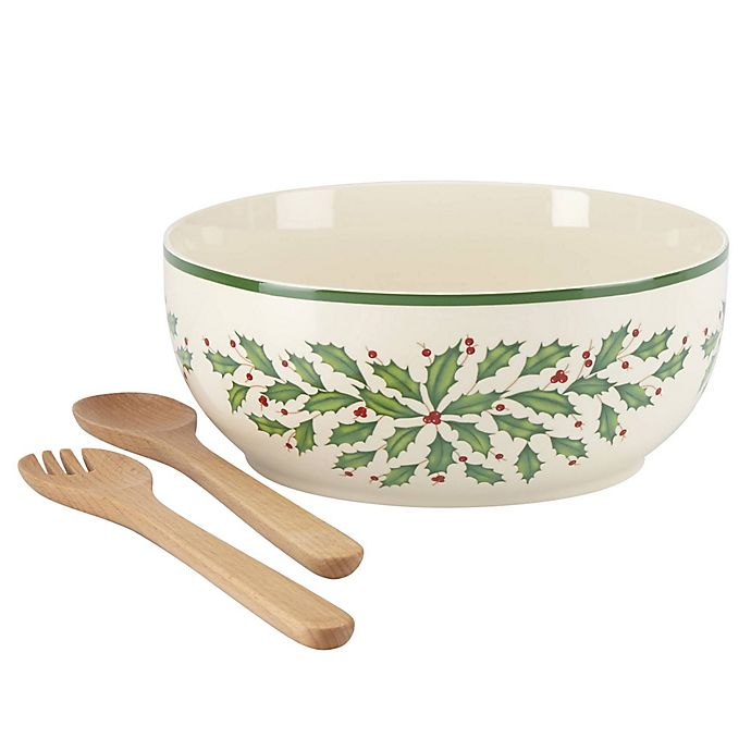 Alternate image 1 for Lenox® Holiday™ 3-Piece Salad Bowl with Wooden Servers in Ivory