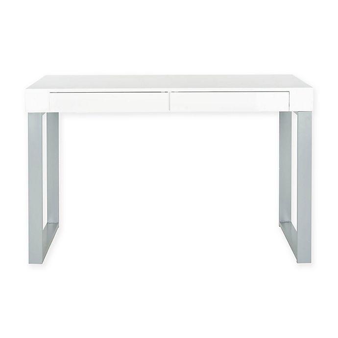Safavieh Barton 2-Drawer Desk In White/Grey