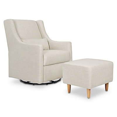 Babyletto Toco Swivel Glider and Ottoman in White Linen