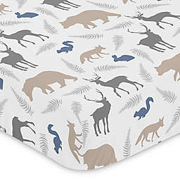 Sweet Jojo Designs Woodland Animals Fitted Crib Sheet in Dark Grey/Taupe