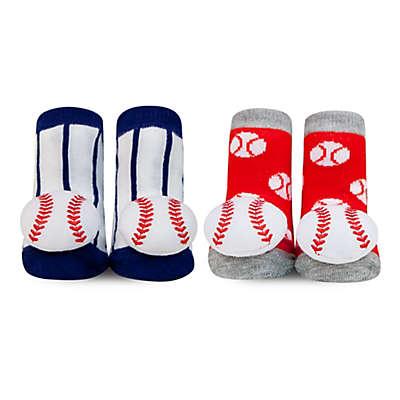 Waddle® 2-Pack Baseball Rattle Socks in White