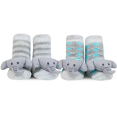 Waddle® 2-Pack Elephant Rattle Socks in Grey