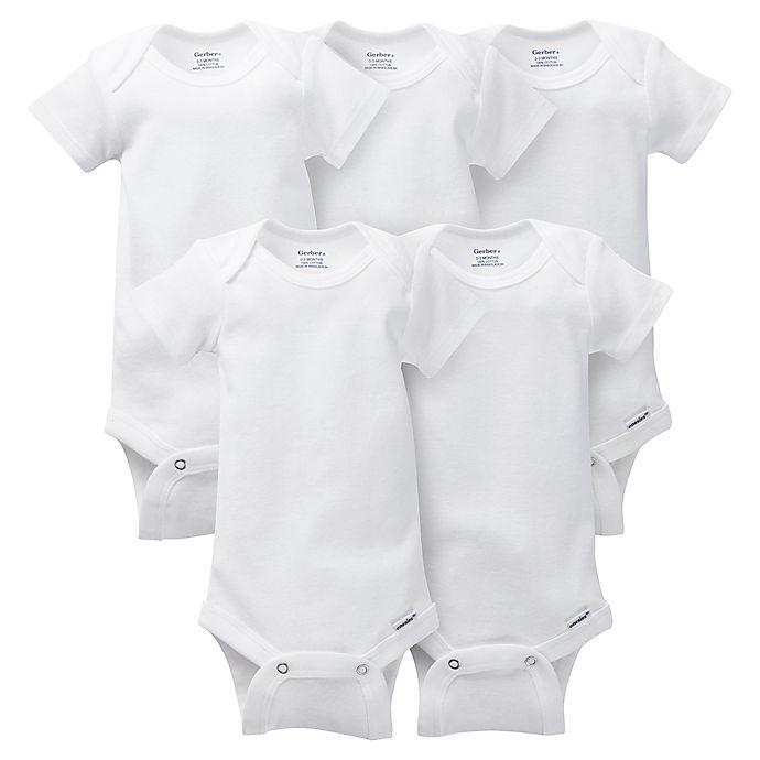 Alternate image 1 for Gerber ONESIES® Brand Preemie 5-Pack Short Sleeve Bodysuits in White