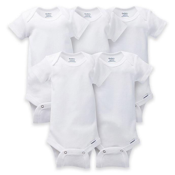Alternate image 1 for Gerber ONESIES® Brand 5-Pack Short Sleeve Bodysuits in White