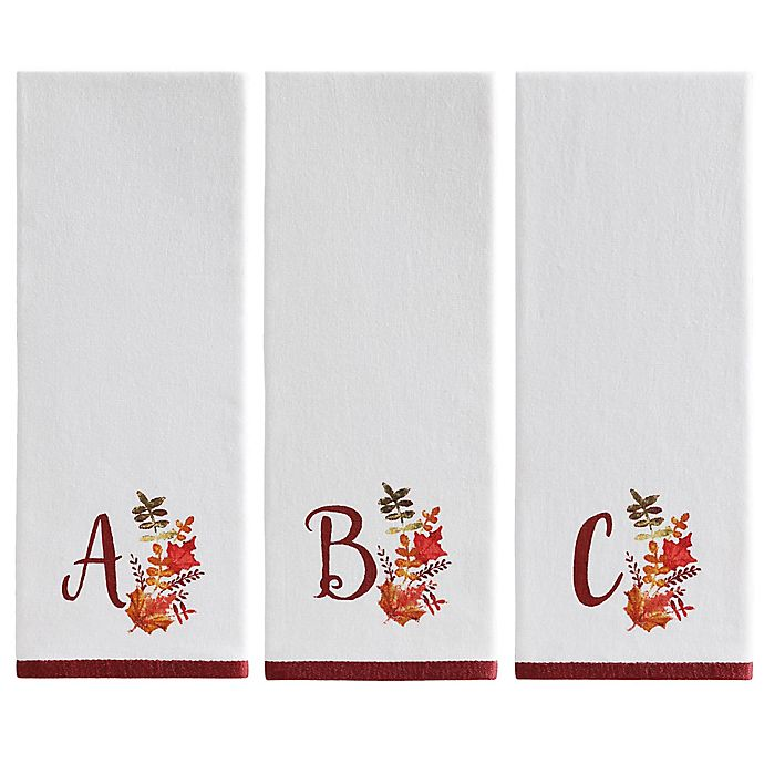 Alternate image 1 for Harvest Monogram Kitchen Towel in White