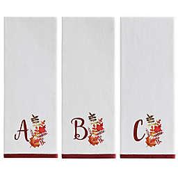 Harvest Monogram Kitchen Towel in White