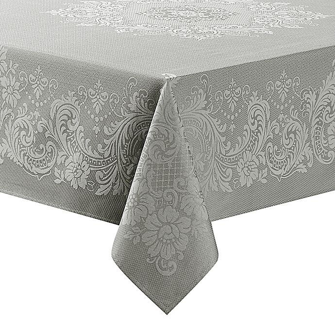 Alternate image 1 for Waterford® Linens Celeste 70-Inch x 144-Inch Oblong Tablecloth  in Silver