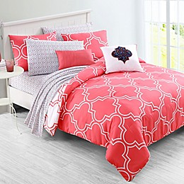 VCNY Home Inspire Me Gia Reversible 3-Piece Comforter Set in Coral