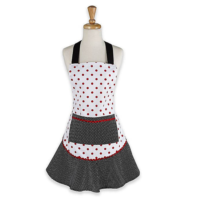 Alternate image 1 for Adult Polka Dot Apron in Black with Ruffle Trim