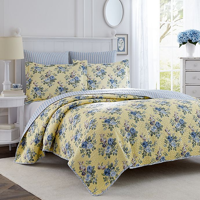 Alternate image 1 for Laura Ashley® Linley 3-Piece King Quilt Set in Light Yellow