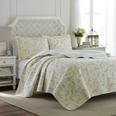 Laura Ashley 174 Joy Quilt Set In Grey Yellow Bed Bath Amp Beyond