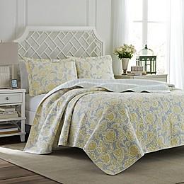 Laura Ashley® Joy Quilt Set in Grey/Yellow