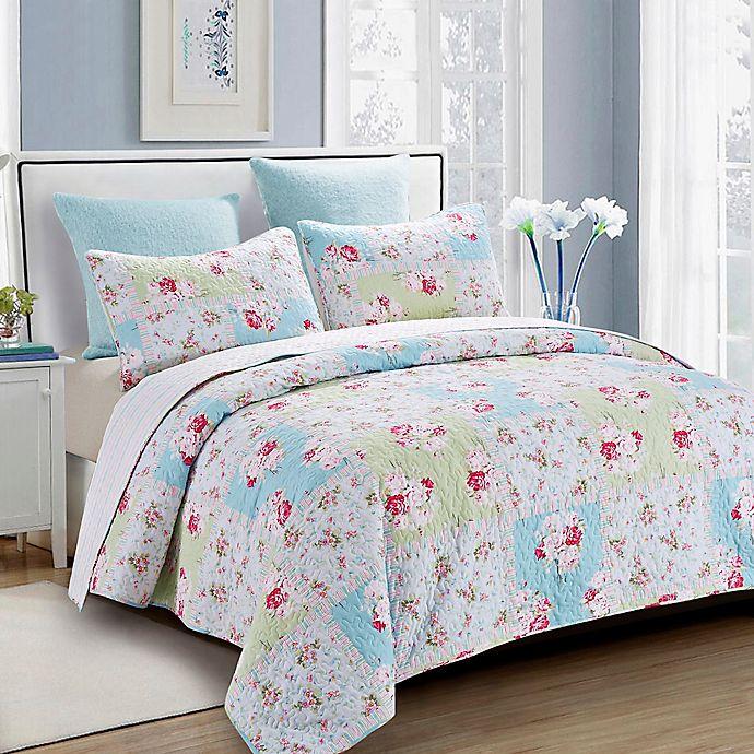 Alternate image 1 for Rose Garden Reversible Quilt Set
