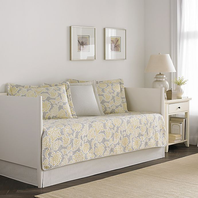 Laura Ashley® Joy Daybed Bedding Set in Grey/Yellow | Bed ...