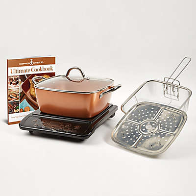 """Copper Chef™ 6-Piece Induction Cooktop with 11"""" Casserole Pan"""