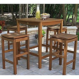 Outdoor Interiors® Eucalyptus Wood Outdoor Bar Furniture in Brown Umber