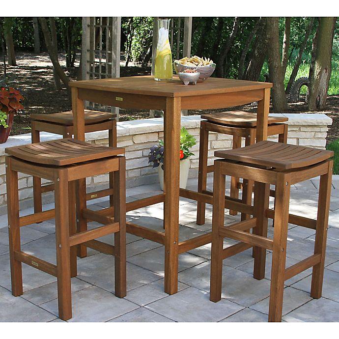 Outdoor Interiors 174 Eucalyptus Wood Outdoor Bar Furniture
